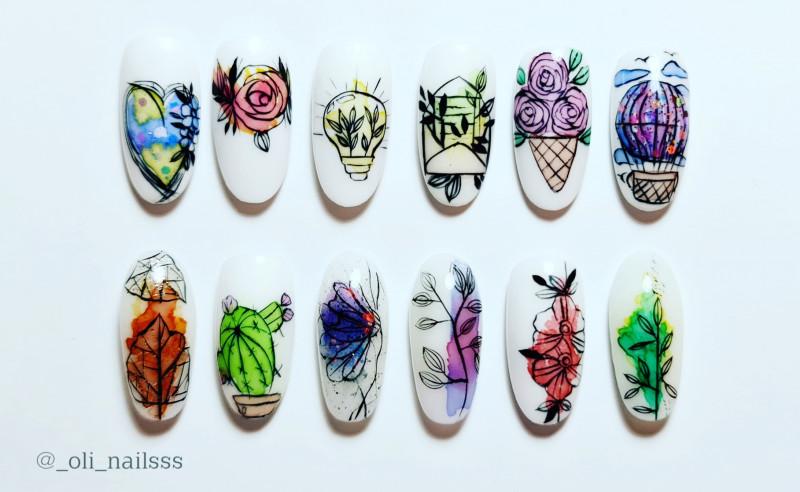 Akwarela na paznokciach