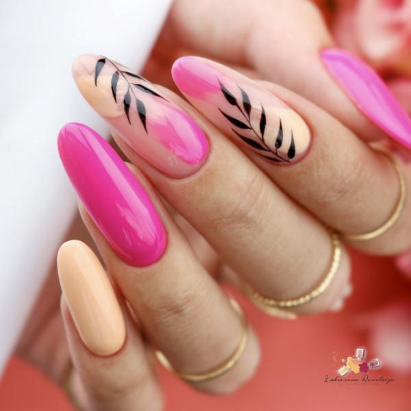 Paznokcie Pastelowo-neonowe listki na paznokciach