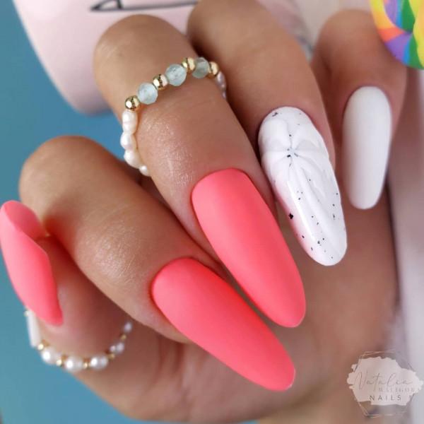 Paznokcie Neonowe paznokcie z palmą