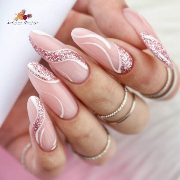 Paznokcie Brokatowe zawijasy na paznokciach