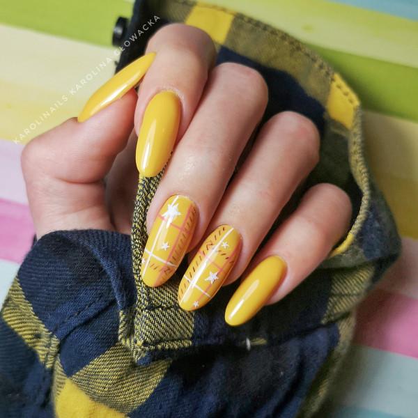 Paznokcie Żółta krata
