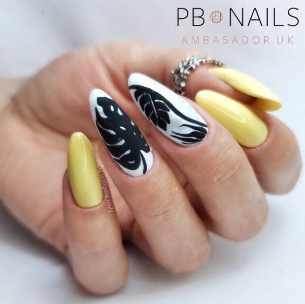 Paznokcie Żółte paznokcie z liśćmi