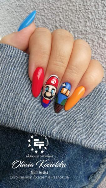 Paznokcie Stylizacja z Mario Bros ❤