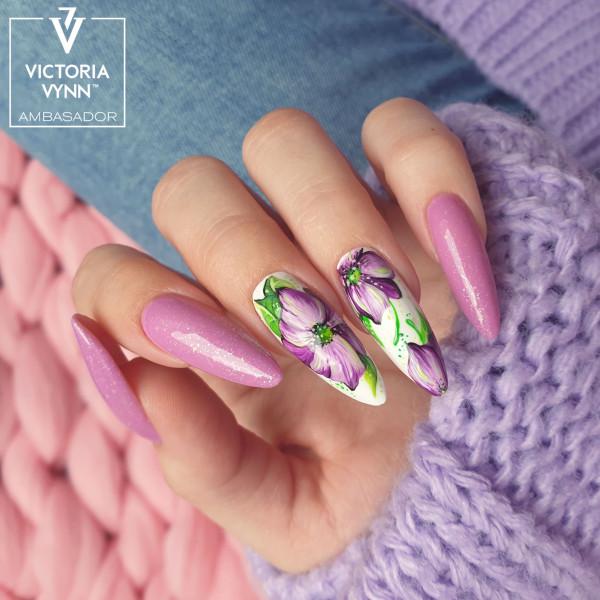Paznokcie Kwiaty fioletowe paznokcie liliowe brokatowe