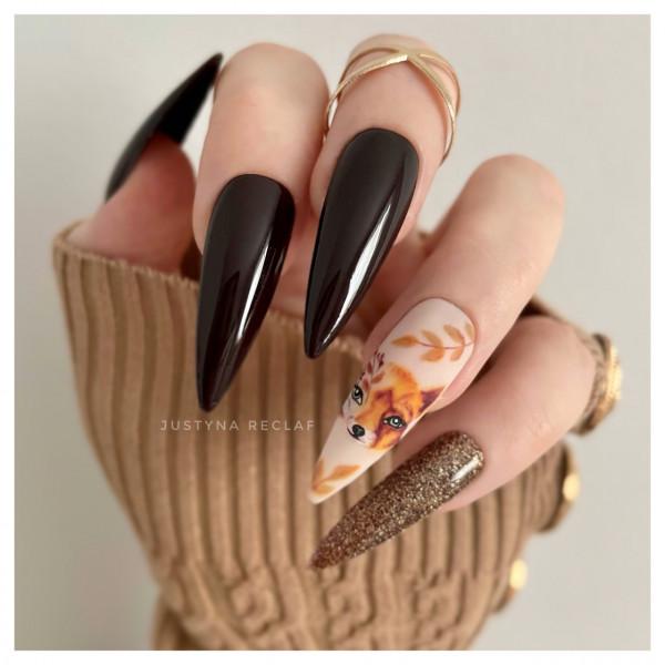 Paznokcie Jesienny lis - paznokcie na jesień