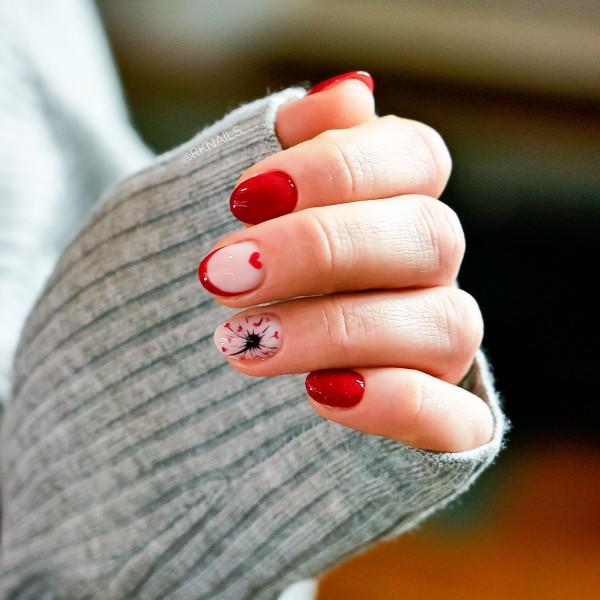 Paznokcie Red-french-glitter