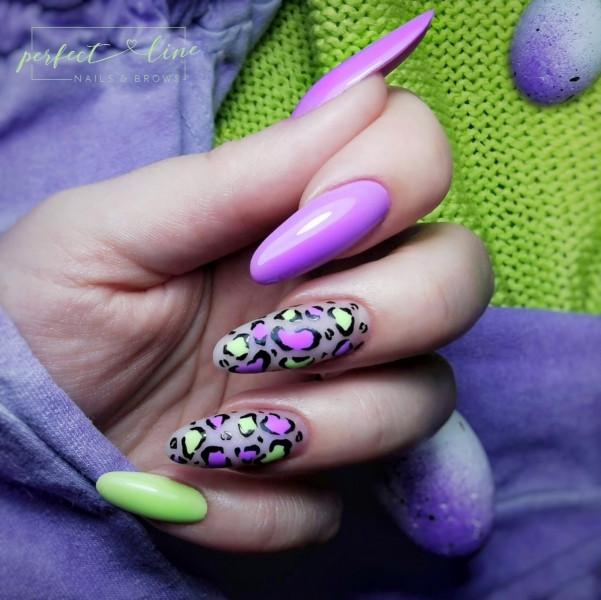 Paznokcie Limonkowo lilaczkowa pantera
