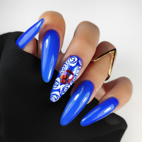 Paznokcie Blue & skull 💀Niebieskie paznokcie