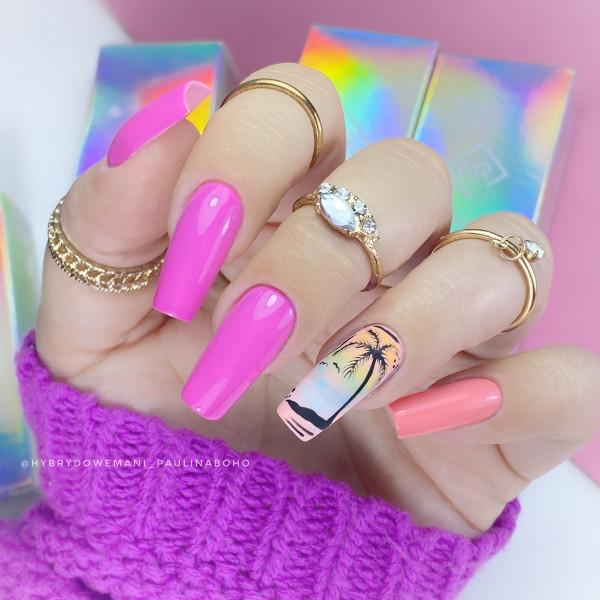 Paznokcie Neonowa palemka na paznokciach
