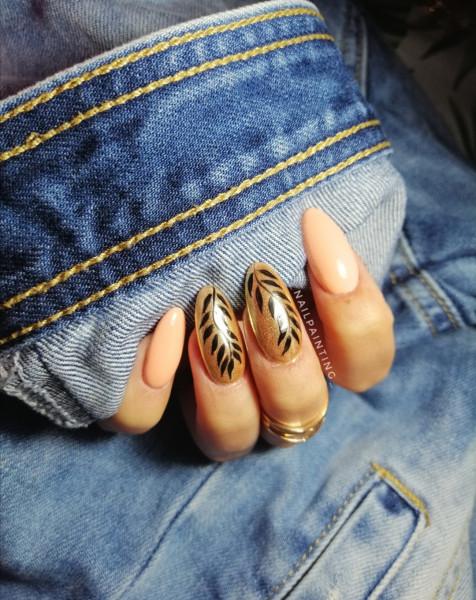Paznokcie Złote z listkami