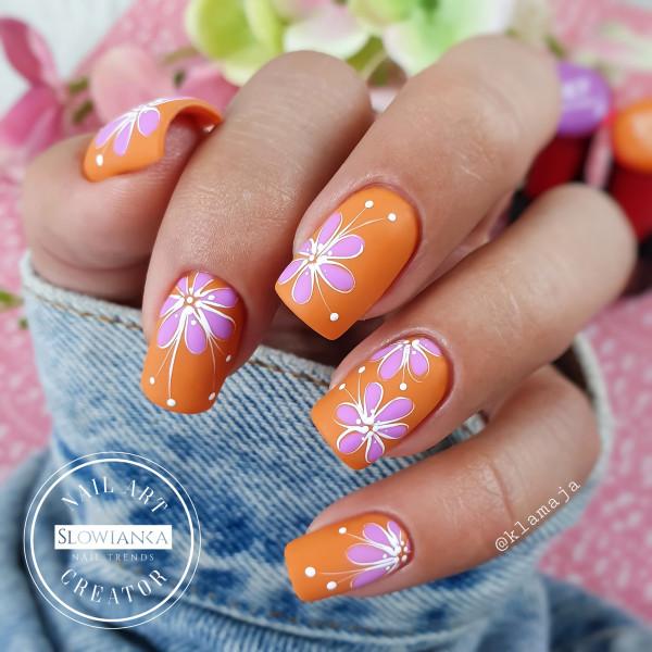 Paznokcie Flower power - pomarańczowe paznokcie