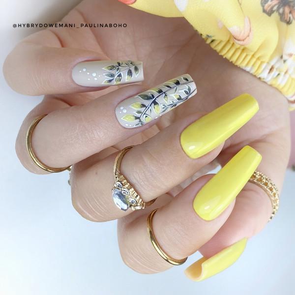 Paznokcie Żółte z listkami