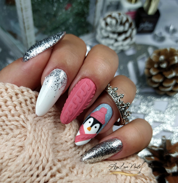 Paznokcie Zimowy pingwinek 🐧❄️