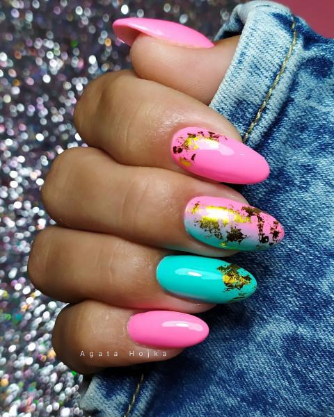 Paznokcie Różowo miętowe paznokcie