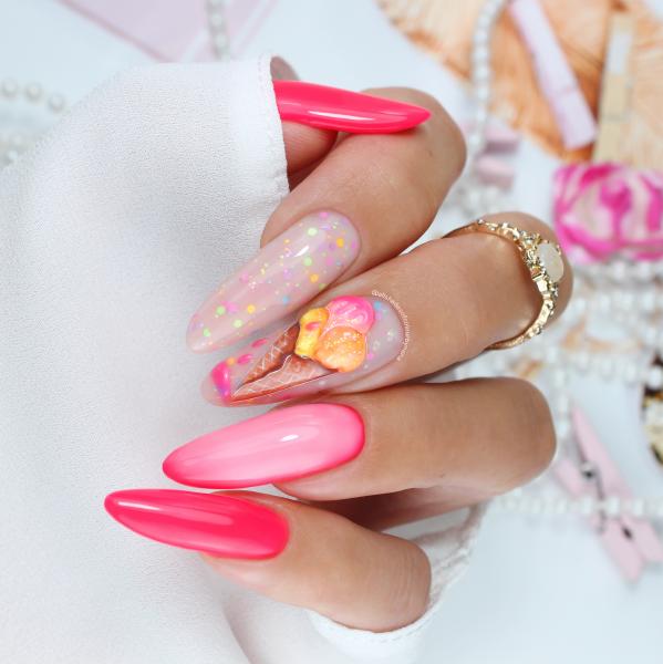 Paznokcie Lody 3d - różowe paznokcie
