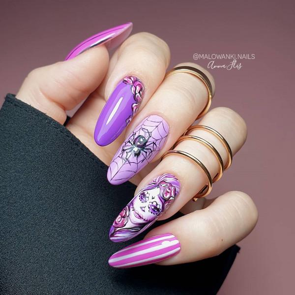 Fioletowe paznokcie halloweenowe