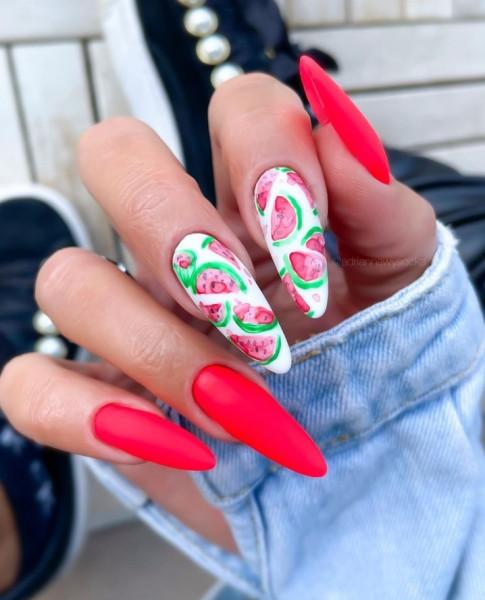 Paznokcie Neonowe arbuzy na paznokciach