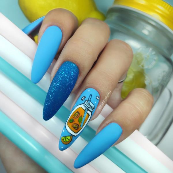 Paznokcie 🥤🥤🥤niebieskie paznokcie