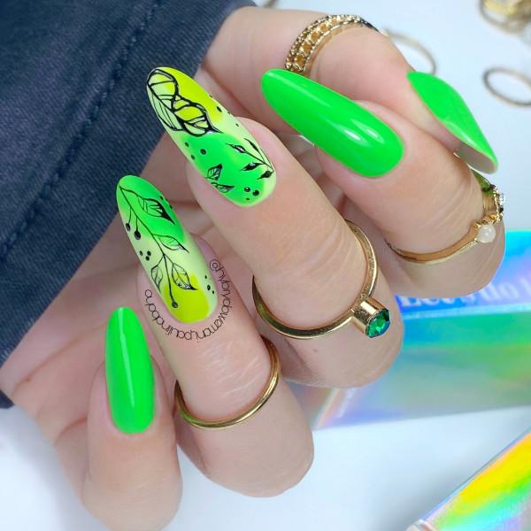 Paznokcie Neonowe listki na paznokciach