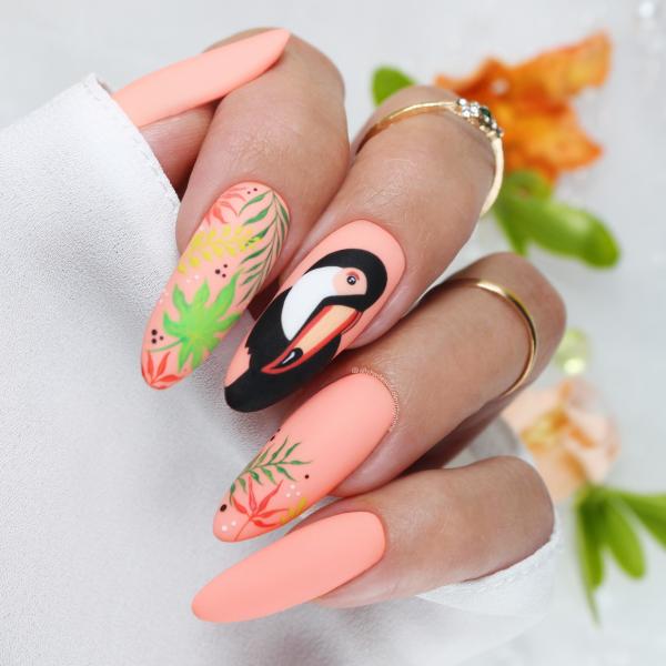 Paznokcie Tukan - pomarańczowe paznokcie