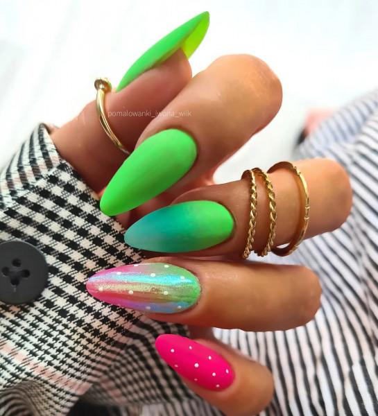 Paznokcie Kolorowe szaleństwo neonowe paznokcie