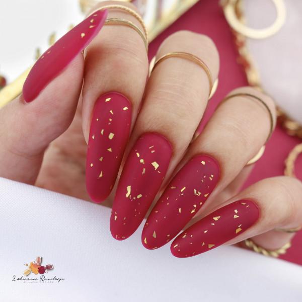 Paznokcie Glamour Top Coat - bordowe paznokcie