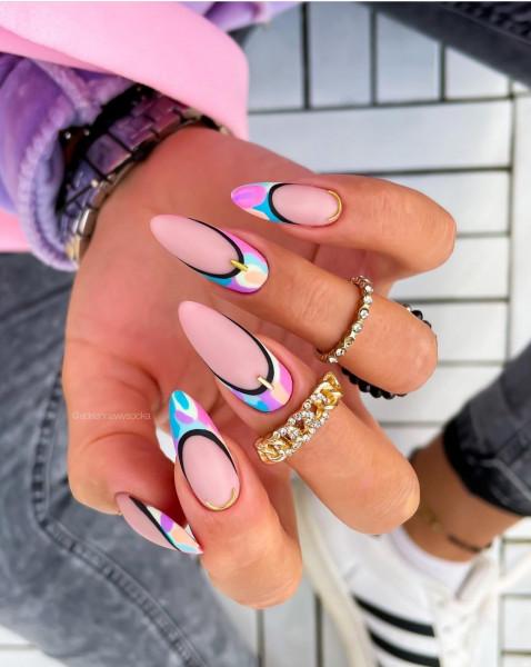 Paznokcie Kolorowy french na paznokciach